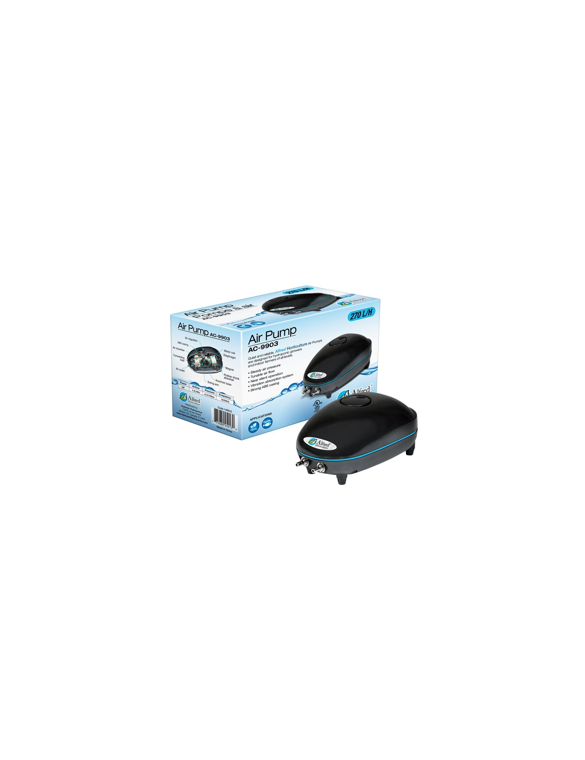 ALFRED AIR PUMP 2 OUTLETS, 270 L / H, 4W